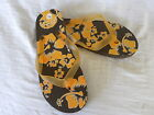 new womens girls flip flop sandals brown sole orange hibiscus flower S M L
