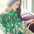 Fashion Women Long Sleeve Embroidery Lace Crochet Tee Chiffon Shirt Top Blouse
