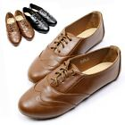 Womens Oxfords Faux Leather Low Heels Ladies Shoes Casual Lace Up Ballet Flats