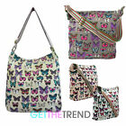 Womens Anna Smith Butterfly Canvas Nappy Cross Over Body Travel Messenger Bag