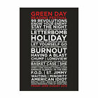 Green Day Reading Festival 23rd August 2013 Set List Poster, A4 & A3