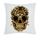 Exclusive - Skull Flowers Sublimation Cushion Cover (C016 - White)