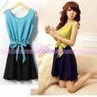 Fashion Women Korean Sleeveless Chiffon Summer Casual Sexy Dress With Necklace
