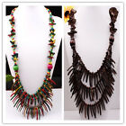 "Hot Handmade Coconut Shell Pepper Stick Beads Necklace 32""L More Colors Options"