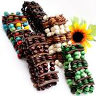 Large Unisex Wooden Coconut Shell Round Stick Stretch Bracelet 5 color 6 options