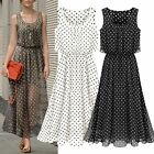 Woman Fashion Polka Dots Round Neck Sleeveless Elastic Waist Black Dress S-3XL