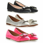 BRAND NEW Childrens, Girls Faux Leather Diamante Bow Ballet Pumps