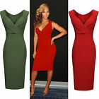 Ladies Sexy V-Neck Cocktail Party Evening Bodycon Dresses Midi Slim Pencil Dress