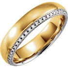 Genuine 1/4 ctw G-H Diamonds Wedding Band 14K. Solid Two Tone Gold Size 7  or 11