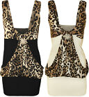 New Ladies Animal Print Strappy Broach Waterfall Stretch Womens Tiger Top 8 - 20