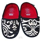 BUILT Fold and Go Travel Slippers Neoprene No Slip Damask Black and White NEW