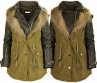 J84 NEW WOMENS FAUX FUR HOODED PARKA LADIES PLUS SIZE PVC FISHTAIL COAT JACKET