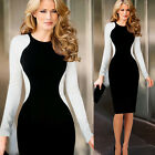 Sexy Womens Optical Illusion Long Sleeve Slim Bodycon Party Evening Pencil Dress