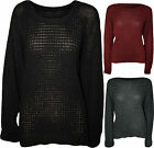 New Womens Plus Size Mesh Knitted Fisherman Ladies Long Sleeve Jumper Top 16-22