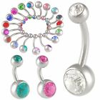 2Pcs Crystal belly rings steel navel bars button piercing body jewellery 9CPB