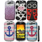 For HTC myTouch 4G DIAMOND BLING CRYSTAL HARD Protector Case Cover Phone + Pen