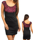 Women Black Pink Lace Sheath Corporate Dress Size 8 S 10 M 12 L 14 XL NEW