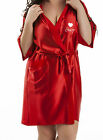 Personalised Red Coloured Wedding Robe / Dressing Gown - Winter Bride Hearts