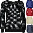 New Womens Plain Crochet Long Sleeve Sweater Ladies Top Knitted Jumper 8 - 14