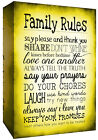 Yellow Family Rules Quote, Canvas Wall Art Print Picture ALL SIZES, ANY COLOUR