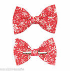 Christmas Red White Snowflake Clip On Bow Tie