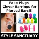 Fake Flesh Plug Acrylic Earring Stud Ear Stretcher Piercing Cheater Tunnel NEW