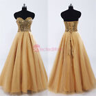 Gold Sweetheart Full-length Dancing Party Homecoming Dresses Formal Pageant Gown