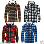Mens Sherpa Fleece Lined Check Plaid Hooded Lumberjack Work Jacket Size