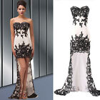 High-Low Black Applique Evening Formal Prom Banquet Cocktail Dress Wedding Gown