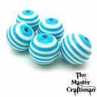 ☆5 - 10  20mm ROUND BLUE WHITE STRIPED ACRYLIC RESIN SPACER BEADS WHOLESALE 2cm☆