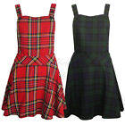 Ladies Womens Tartan Pinafore Dungarees Mini Backless Buttoned Skater Dress 8-14