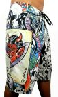 NEW NWT ED HARDY MEN'S NATURAL JOKER GRAPHIC SKULL BOARD SHORTS SWIM SURF TRUNKS