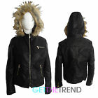 Womens Faux Leather Quilted Black Fur Lined Jacket Hooded Full Sleeve Jacket