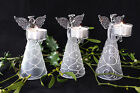 Glass Angel ChristmasTea light Candle Holder Tabel Decoration Guardian Figurine
