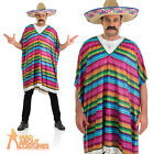 Mexican Poncho Costume Western Cowboy Bandit Mens Fancy Dress Outfit New