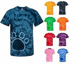 TIE-DYE T-SHIRT, PAW PRINT, MID-WEIGHT, 100% COTTON, CREWNECK, S M L XL 2X 3X