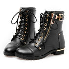Mori Girl Women's genuine leather laceup short stud riding anckle boots US 5-10
