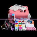 36W Lamp Acrylic 12 Colors UV Gel Nail Art Brush Cutter Tweezer Tool Sets Kits