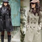 Trendy Womens Long Sleeve Slim Trench Double Breasted Coat Jacket Outwear USBD
