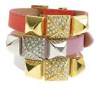 JUICY COUTURE Pave Pyramid Stud Leather Wrap Buckle Cuff Bracelet $48