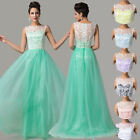 2015 Classy Lace Long FORMAL Evening Gown Bridesmaid PROM Wedding Party Dresses