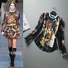 New Fashion Runway Fashion Vintage Italian Style Angel Oil Print Blouse