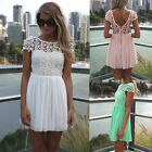 Womens Short Sleeve Chiffon Lace Evening Backless Bodycon Party Cocktail Dress