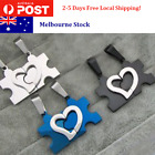 3 Color Couples Puzzle Stainless Steel Pendant Love Necklace Set