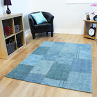 Quality Fine Mottled Turquoise Blue Mats Stylish Thin Cotton Patchwork Area Rugs