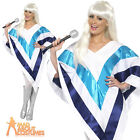 1970's Super Trooper Poncho Cape Disco Abba Womens Retro Fancy Dress Costume