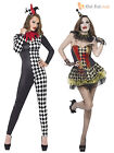 Ladies Sexy Zombie Clown Harlequin Jester Halloween Costume Womens Circus Outfit