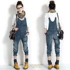 women's skinny ripped denim Overalls washed Strap Suspenders long jeans 18218