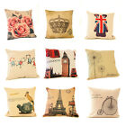 "Tapestry Cushion Pillow Throw Cover Linen Burlap 18"" x 18"" Vintage 10 DESIGNS"