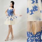 Nude Royal Blue Short Prom Bridesmaid Party Dresses Mini Homecoming Evening Gown